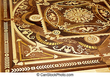 Wood marquetry craft decoration at floor parquet