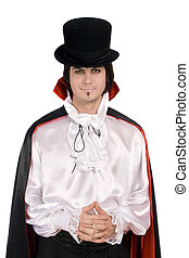 young man in a suit of Count Dracula - Smiling young man in...