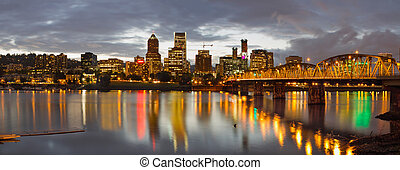 Portland Downtown Skyline at Sunset - Portland Oregon...