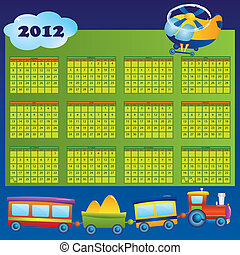 Calendar 2012 year for children. First day of week beginning on Sunday. Vector illustration.