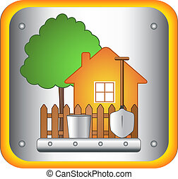 house and garden tools - garden sign with house and garden...