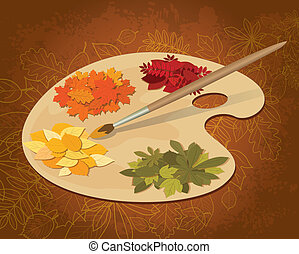Paints of autumn - Fallen leaves on the art palette and...