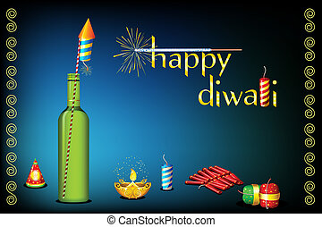 Diwali Card - illustration of diwali card with fire cracker...