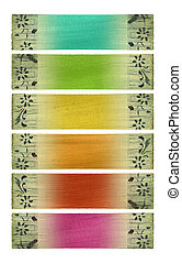 Multicolored coconut paper banner set isolated