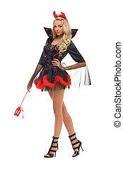 woman in carnival costume.  Devil shape