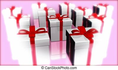 White gifts with red ribbon