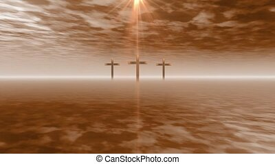 Three crosses in the clouds