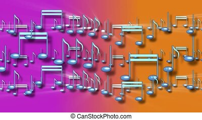 Music notes on pink and orange background
