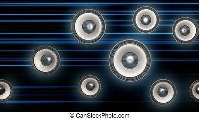 Audio speakers travel across screen