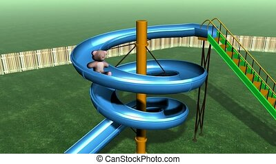 Teddy bear going down curved slide