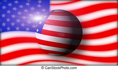 American flag and ball