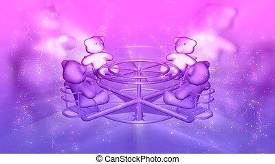 Teddy bears on merry-go-round