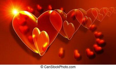 Red hearts circling