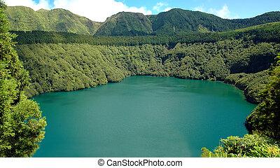 Santiago Lagoon, in Sao Miguel, Azores - Santiago Lagoon, in...