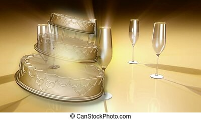 Cake and champagne glasses