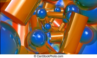 Bronze cylinders and blue balls