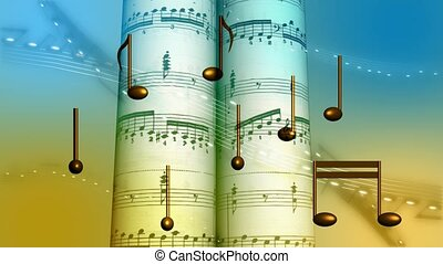 Suspended music notes in front of musical score