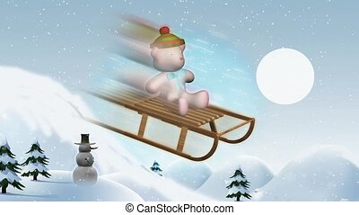 Teddy bear on sled