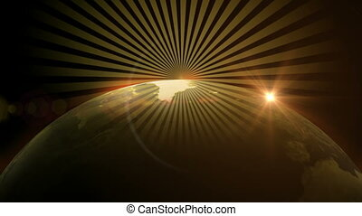 Light rays off top of world