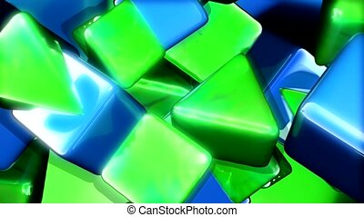 Green triangles and blue squares