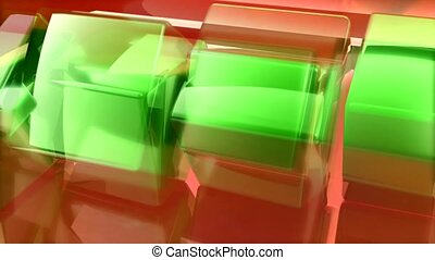 Red and green shapes