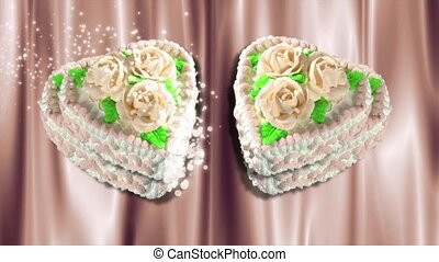 Decorated heart shaped cakes