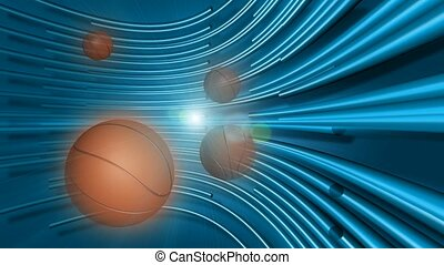 Basketballs with blue curved line background