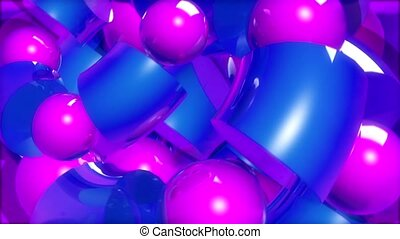 Blue cylinders and purple spheres