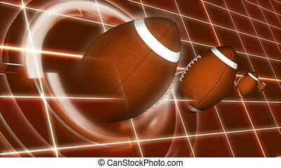 Spinning footballs with grid background