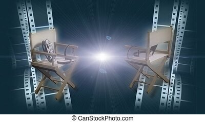 Movie film reels and director chairs