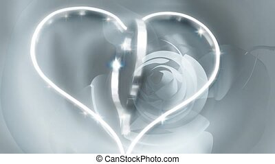 Two concentric silver hearts