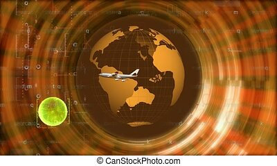 Airplane orbiting earth