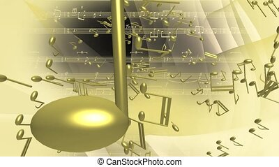 Flying gold musical notes