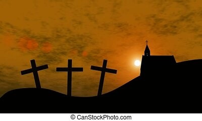 Silhouette of church and three crosses