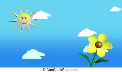Sun, flower and clouds