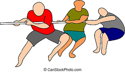 Tug of War - Three people participating in a tug of war.