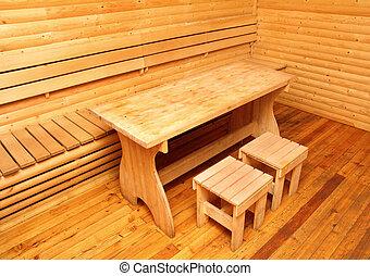 wooden interior of sauna rest room