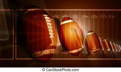 Footballs with football field background