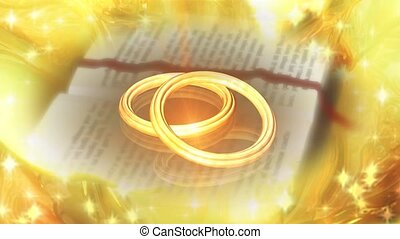Wedding bands on Bible