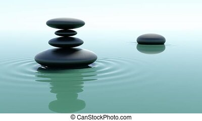 Pile of stones on water