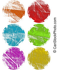 Colorful Grunge Textured Web Elements Isolated
