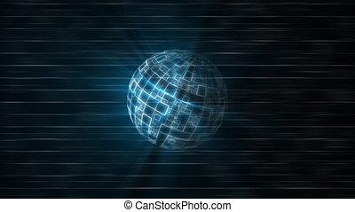 Blue grid globe