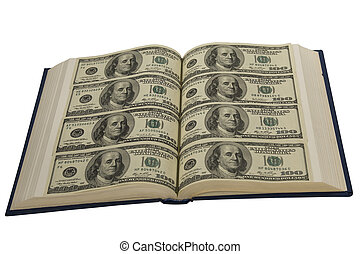 Book with open page of money