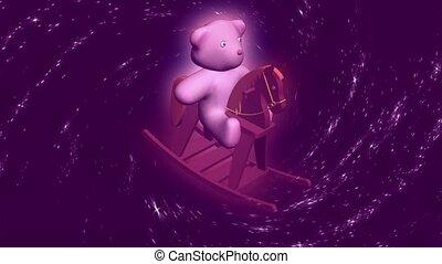 Teddy bear on rocking horse