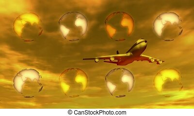 Airplane flying past globes