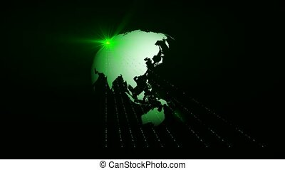 Earth with green light