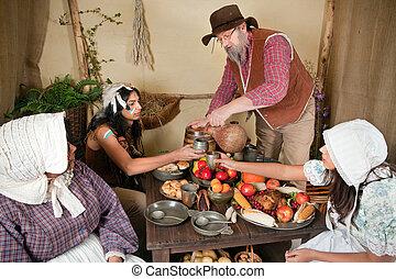 First Thanksgiving reenactment - Reenactment scene of the...