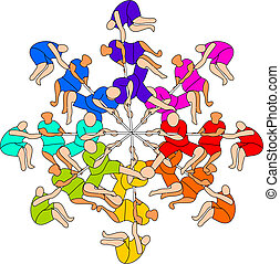Eight Colored Tug of War Teams - eight colored teams playing...