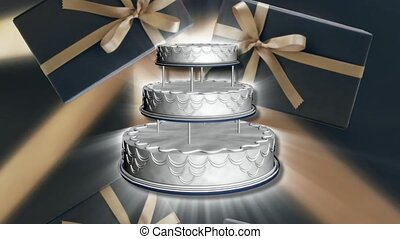 Wedding cake and gifts