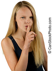 Young girl making silence gesture on white background